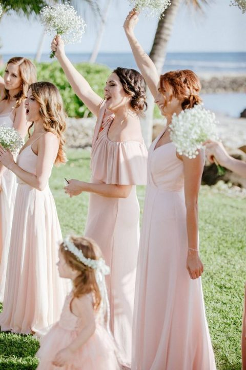 mismatching blush maxi bridesmaid dresses is classics