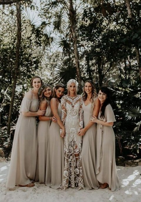 mismatching off white maxi bridesmaid dresses are classics for a tropical wedding