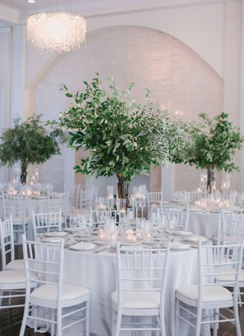 tall greenery centerpieces in clear glass vases, with olive branches and eucalyptus look very chic together