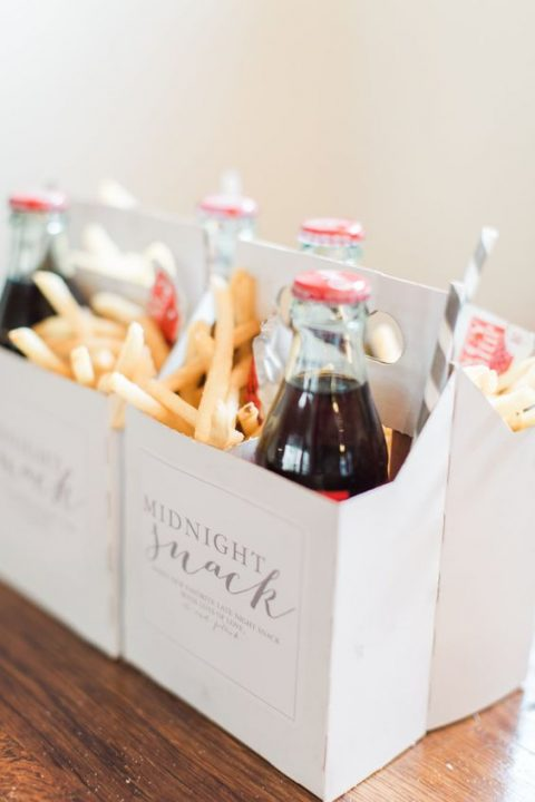 French fries and Coke bottles in boxes are a very comfy option