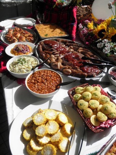 a bbq buffet is a great idea for a rustic rehearsal dinner