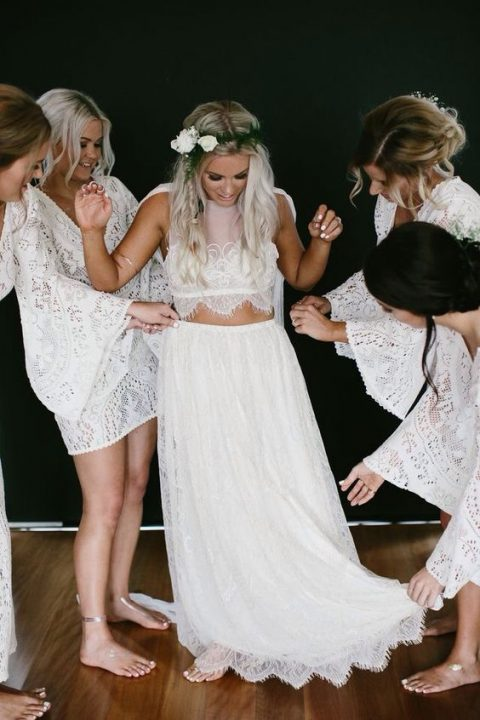 a light wedding separate with a lace crop top and a lace maxi skirt lets your skin breathe