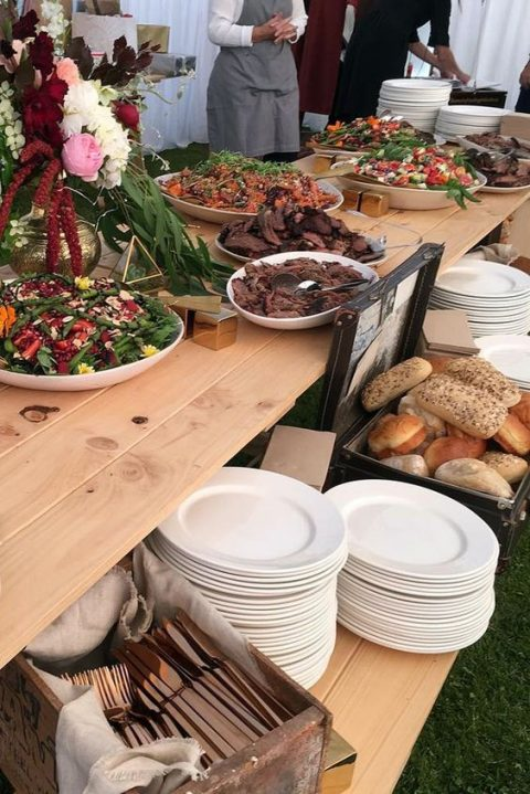 a salad bar is a very good idea for a rustic rehearsal dinner or wedding