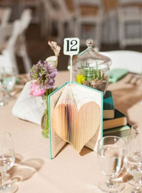 a single book with pages cut to form a heart and a table number topper