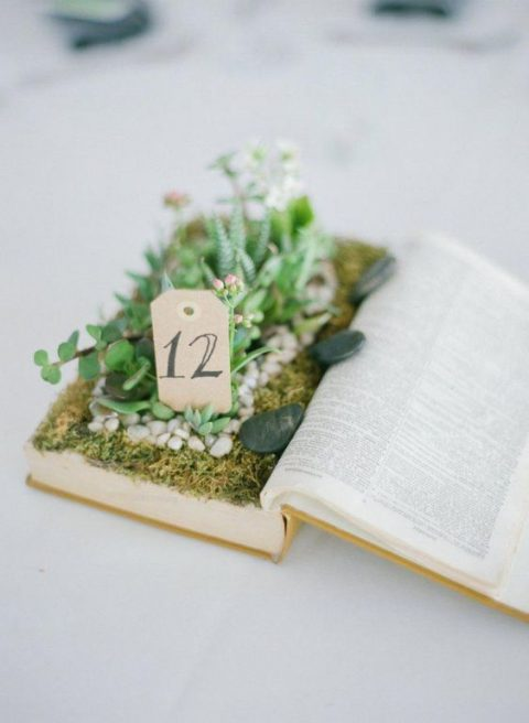 an opened book with moss, pebbles and some planted succulents plus a table number