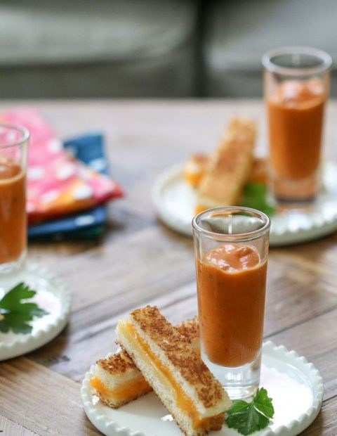 cheese sticks and tomato soup is a healthy and hearty snack idea to rock