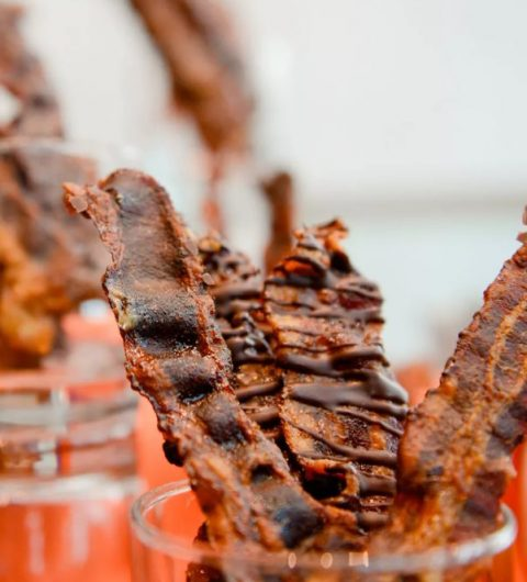 chocolate covered bacon strips are a cool combo of sweet and salty