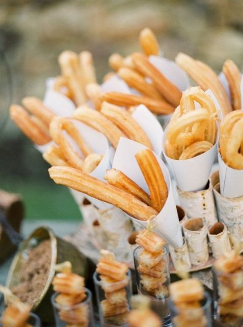churros cones are ideal for a Spanish or a Mediterranean wedding