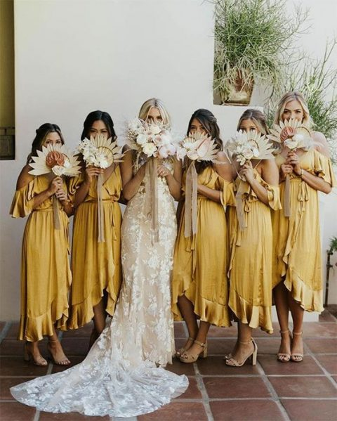 cold shoulder wrap midi bridesmaid dresses with V cuts for a hot day wedding