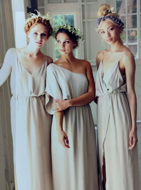 flowy and very light off-white boho bridesmaids dresses will let your gals feel comfortable