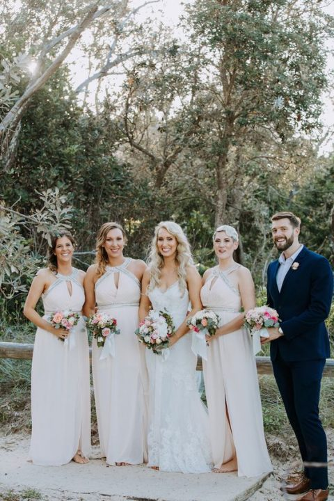glam light pink maxi bridesmaid dresses with cutous and glam sparkly touches