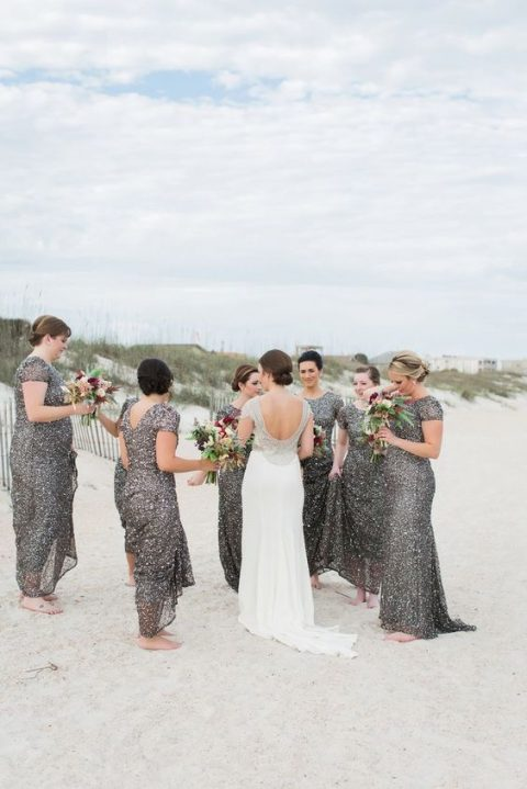 grey sequin bridesmaid dresses with short sleeves and cutout backs
