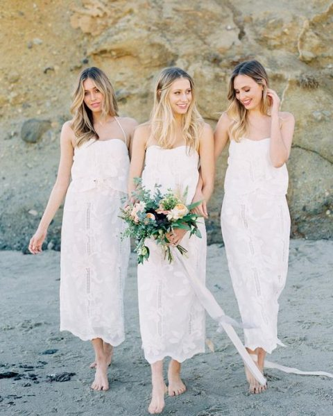 lace midi loose separates with spaghetti straps for a trendy white bridal party