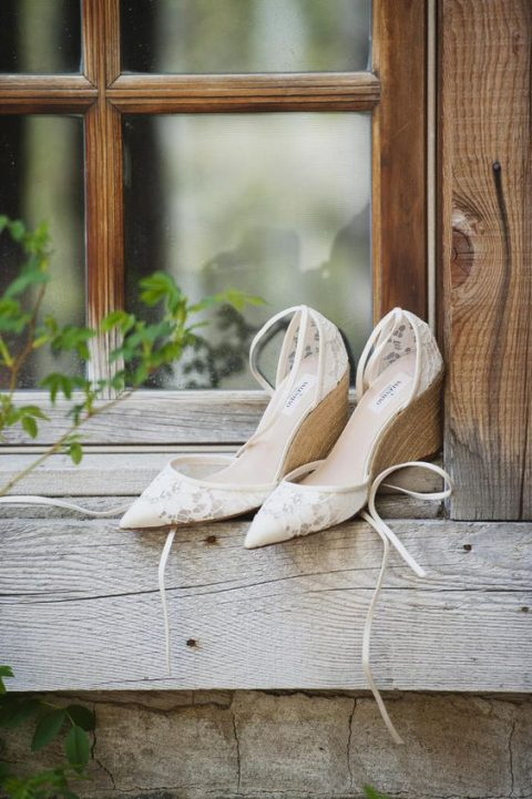 lace pointed toe wedges with wooden bottoms for an elegant feel