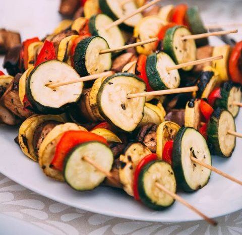meat skewers with vegetables are a healthy and tasty option