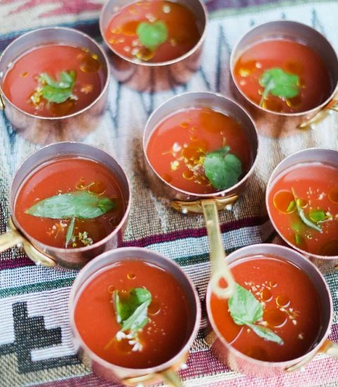 mini gazpacho soups served in individual pots