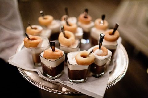 mini lattes with bit sized donuts will make most of guests happy, they are delicious