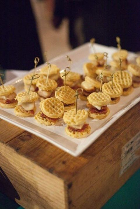 mini waffle sliders with various fillings