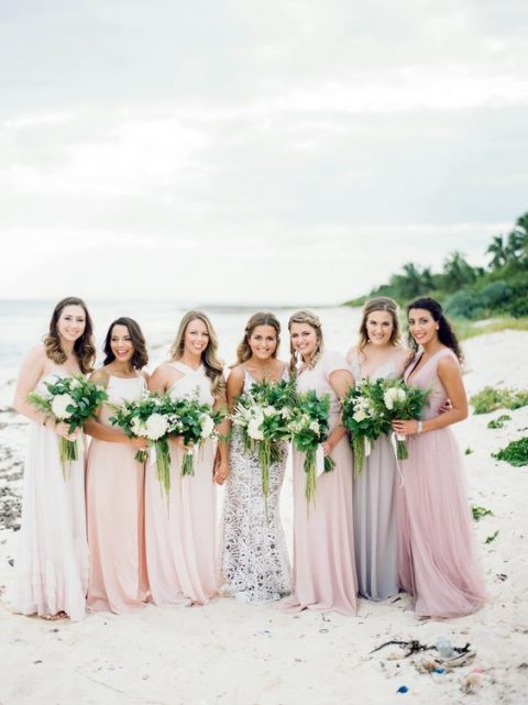 mismatched blush, lilac and pink maxi bridesmaid dresses