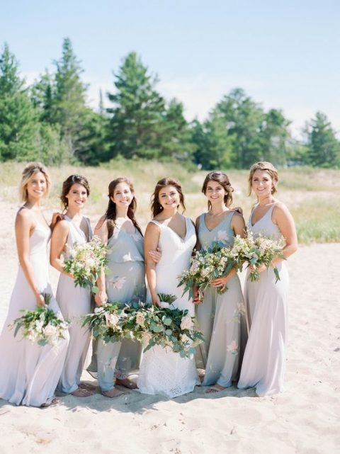 mismatched off-white maxi bridesmaid dresses
