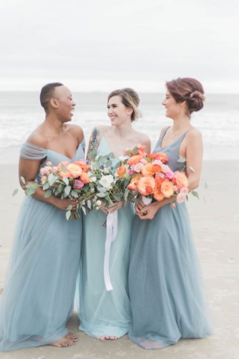 mismatched subtle blue maxi bridesmaid dresses look chic and timeless