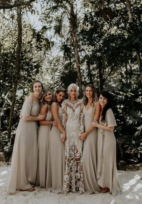 mismatching off-white maxi bridesmaid dresses for a beach tropical wedding