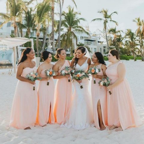 peachy pink one shoulder and strapless maxi bridesmaid dresses with slits