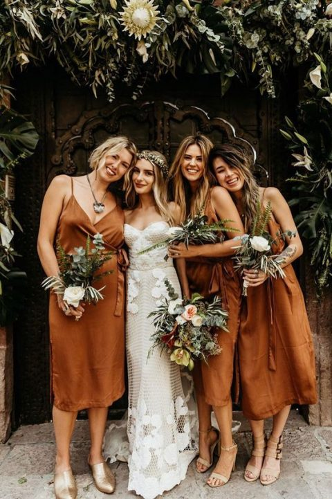 rust natural silk wrap midi dresses for bridesmaids are an elegant and chic option