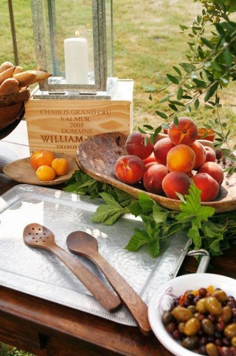 serve fresh fruits and veggies at your rustic rehearsal dinner