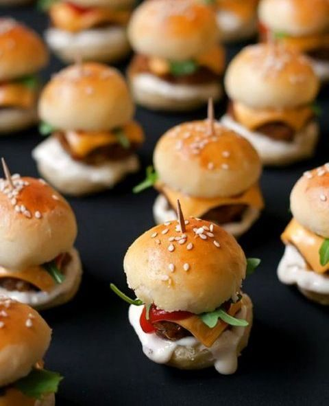 tasty mini burgers always work, offer your favorite tastes