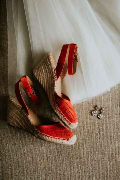 wedding espadrilles are a nice idea for a hot day - they are comfy and breathing