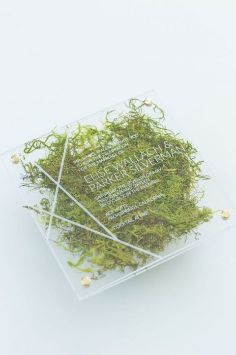 a modern acrylic wedding invite with moss inside and gold nails for a modern organic wedding