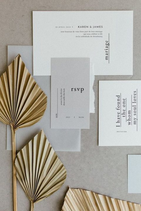 a neutral and pastel invitation suite with simple lettering is what you need for a modern wedding