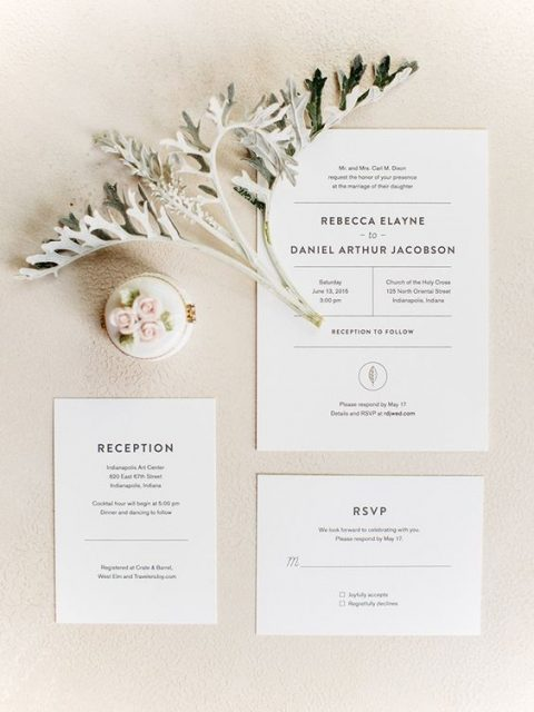 laconic modern white wedding invites with black letters are chic and simple