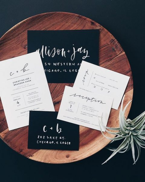 modern black and white wedding invitations with catchy lettering (1)