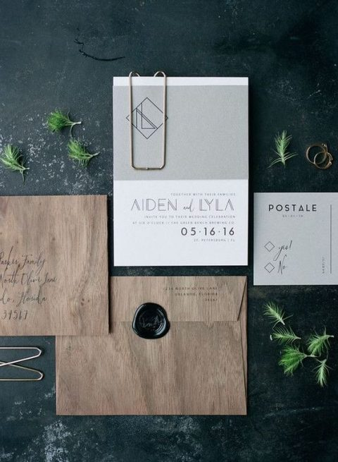 modern black and white wedding invitations with catchy lettering (10)