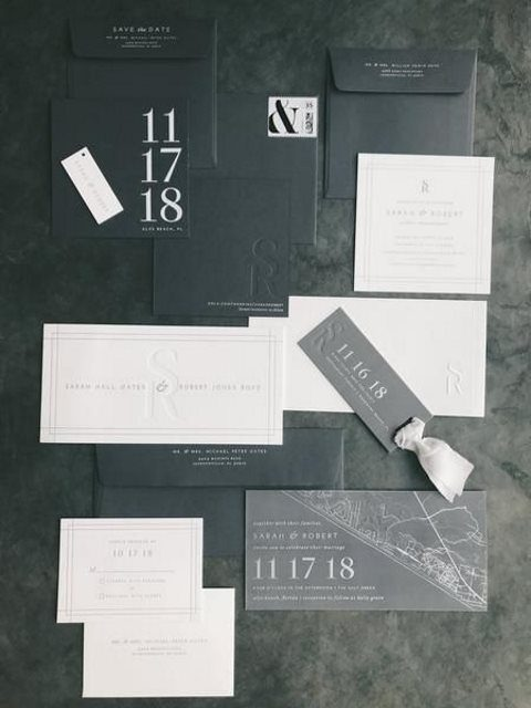 modern black and white wedding invitations with catchy lettering (3)