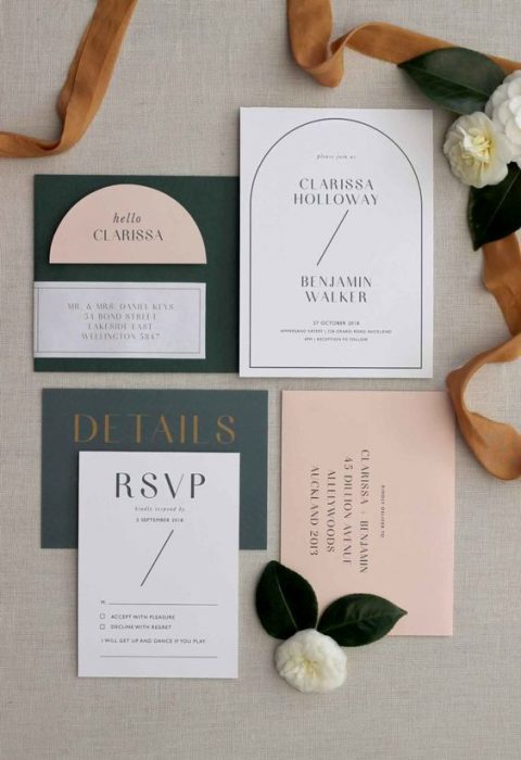 modern black and white wedding invitations with catchy lettering (4)