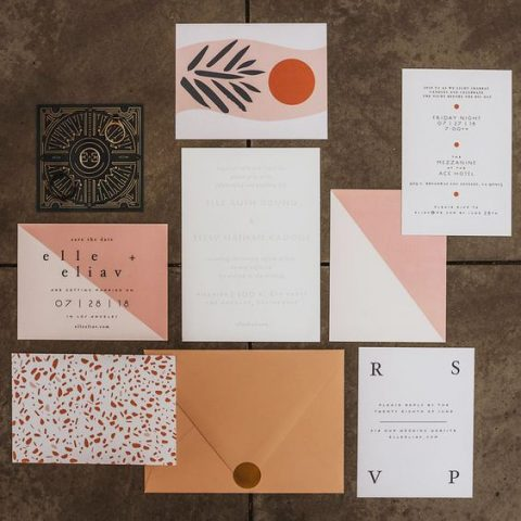 modern black and white wedding invitations with catchy lettering (6)