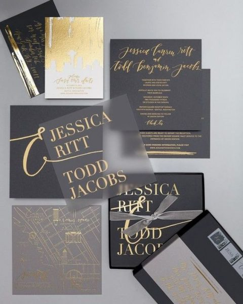 modern black and white wedding invitations with catchy lettering (7)
