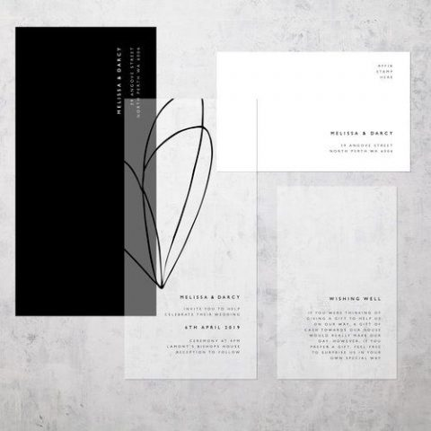 modern black and white wedding invitations with catchy lettering (8)