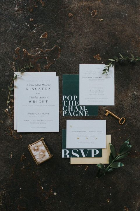 modern black and white wedding invitations with catchy lettering (9)