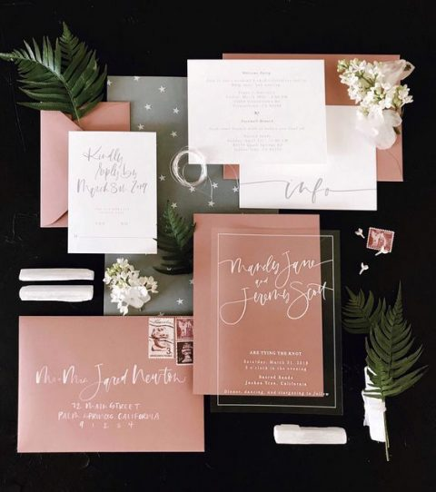 modern dusty pink, grey and white wedding invitations with catchy lettering