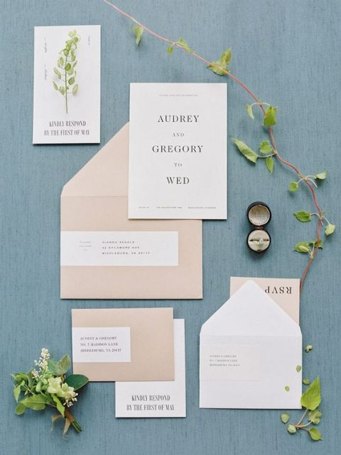 tan and white wedding stationery with black letters and color blocking