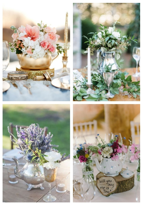 teapot and coffee pot wedding centerpieces
