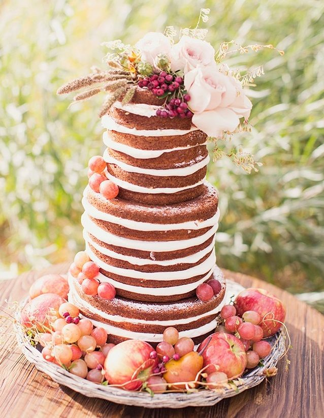 55 Delicious Naked Wedding Cakes