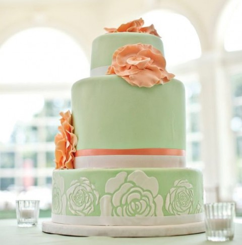 wedding cake peach and mint green delicate color palette 45 and mint wedding ideas 23392