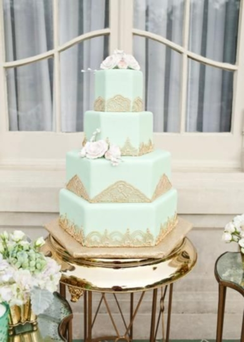 mint green and gold wedding cake 64 brilliant mint and gold wedding ideas happywedd 17443
