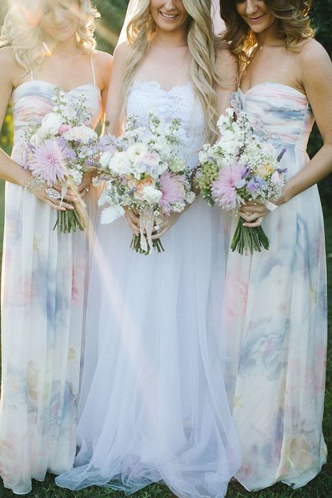 watercolor wedding dress 27 dreamy watercolor bridesmaids dresses happywedd 8368