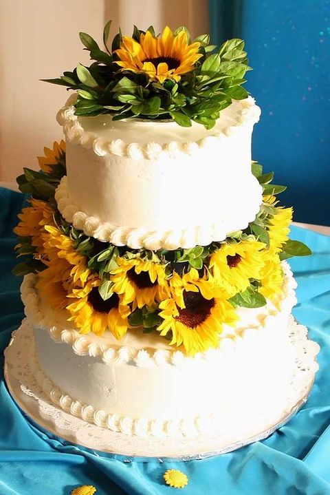 wedding cakes with sunflowers 90 cheerful and bright sunflower wedding ideas happywedd 26123